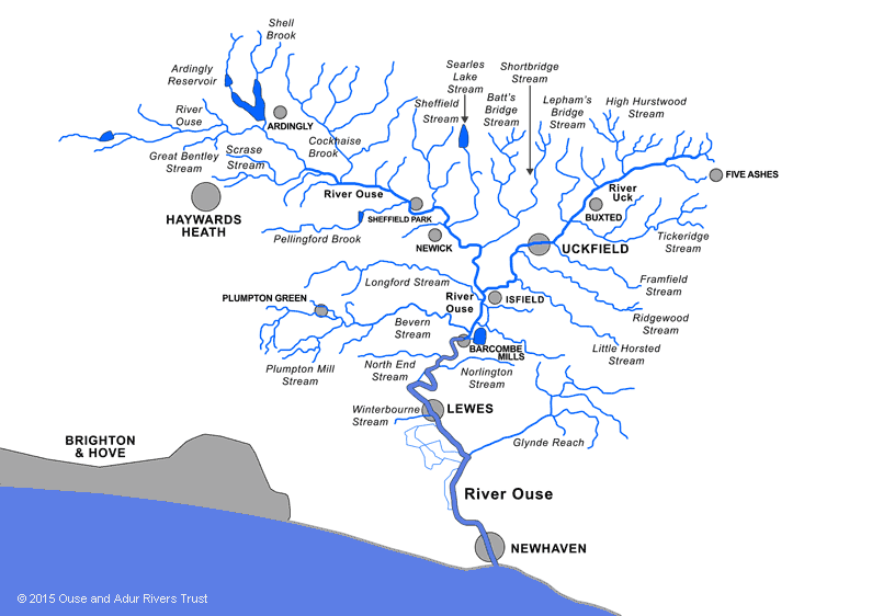 Map of Sussex Ouse catchment