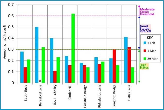 Figure 1 Ammonia levels in Longford Stream: comparison of samples taken on 29 March with those taken on 1 February and 1 March