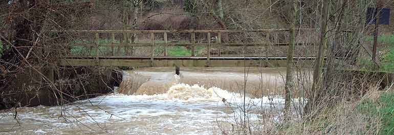 Winter Spate at Redbridge Weir on the Bevern Stream
