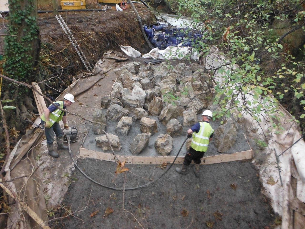 Fixing the Rocks with Concrete Sharpsbridge