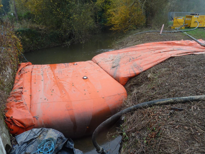 Aquadams Used to Divert Water Sharpsbridge